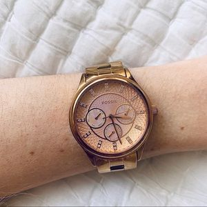 Women's Fossil Watch with Gold Diamonds